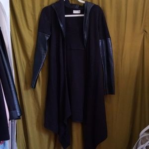 BlankNYC Long Black Cardigan with faux leather